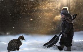 Picture cat, snow, shovel, child