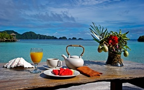 Picture tropics, Breakfast, . the ocean