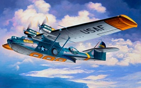 Picture art, airplane, painting, aviation, Consolidadated PBY-5A Catalina