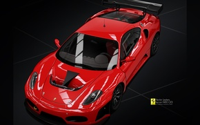Picture vector, Ferrari F430, red, drawing