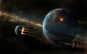Picture stars, ship, rocket, Planet