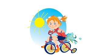 Picture summer, the sun, bike, mood, art, girl, walk, children's