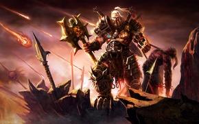 Wallpaper Blizzard, Art, Diablo 3, Warrior, Weapons, Blizzard Entertainment, Fan Art, Demon, Barbarian, Armor, Video Game, ...