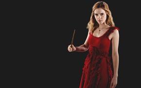 Wallpaper Hermione Granger, in red, Emma Watson, black background