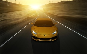 Picture Lamborghini, yellow, sunset, front, LP 610-4, Huracan, LB724