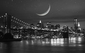 Picture the sky, stars, night, bridge, city, the city, lights, lights, reflection, river, the moon, building, ...