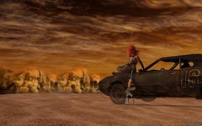 Picture machine, girl, desert, 3d, postapocalyptic