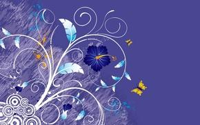 Wallpaper flowers, Vector, purple, leaves