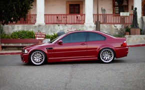 Picture red, the building, Windows, bmw, BMW, index, profile, red, e46