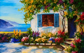Picture flowers, house, river, window, shutters, beds, garden