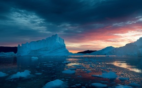 Picture snow, sunset, ice, Greenland