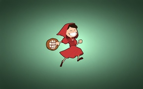 Picture minimalism, little red riding hood, girl, basket, happy, greenish background, red riding hood