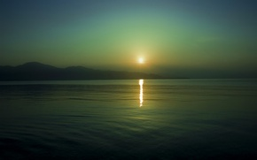 Picture sea, the sun, sunset, mountains