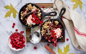 Wallpaper leaves, berries, towel, dessert, red currant, pans, Cranberry Crumble