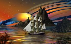 Picture sea, the sky, water, trees, rocks, ship, planet, stars, sailors dream, parusu