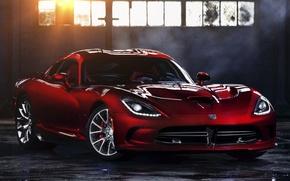 Picture the sun, red, window, Dodge, Dodge, supercar, Viper, the front, GTS, Viper, SRT
