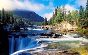 Picture forest, water, mountains, river, stones, waterfall, ate, beautiful, pit, the ravine, dense