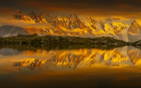 Picture the sky, clouds, snow, mountains, lake, reflection, France, sky, France, mountains, clouds, snow, reflection, French …
