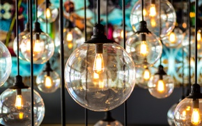 Picture light bulb, macro, lights, reflection, creative, lamp, wire, blur, colorful, bulb, glass, bokeh, sources, emitter, …