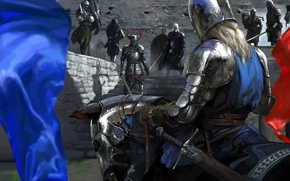 Wallpaper weapons, flag, Knight, horse, armor