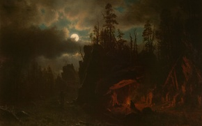 Picture landscape, night, picture, The moon, Albert Bierstadt, The Camp Of Hunters