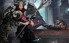 Picture girl, birds, wings, armor, crown, Hummingbird, staff, Art, goddess