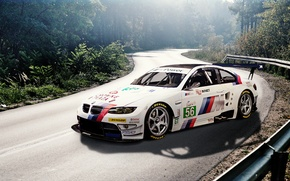 Picture road, forest, white, BMW, BMW, white, E92, stickers, decal, labels, race car