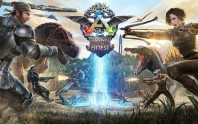 Picture dinosaurs, battlefield, spark, assault rifle, combat, weapon, gun, arrow, bow, montain, war, fight, ARK Survival ...