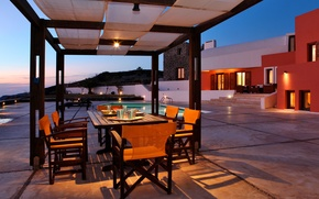 Picture table, Villa, the evening, pool, canopy, terrace