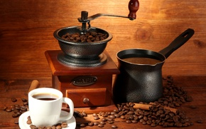 Picture coffee, mug, drink, cinnamon, grain, Turk, coffee grinder