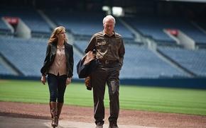 Picture field, sport, baseball, frame, tribune, stadium, Clint Eastwood, Clint Eastwood, Amy Adams, Amy Adams, Trouble ...
