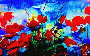 Picture flowers, Figure, red, blue background