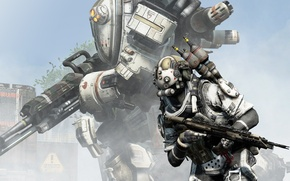 Picture Titanfall, Respawn Entertainment, battlefield, tree, assault rifle, combat, weapon, gun, sky, war, fight, armour, man, ...