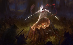 Picture forest, animals, weapons, stump, sword, protection, scarf, art, nuts, badger, wildweasel339