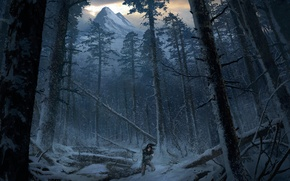 Picture Girl, Mountains, Snow, Forest, Art, Tomb raider, Lara croft, Siberia, Rise of the Tomb Raider, …