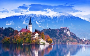 Picture beautiful, mountains, lakes, island church