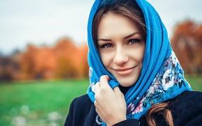 Picture girl, shawl, Russian beauty, Russian Beauty