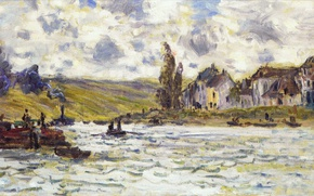 Picture landscape, picture, Claude Monet, Village Lavacourt