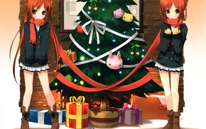 Picture Girls, New Year, Rabbits, Anime, Tree, Scarf, Gifts, Red, Twins, Bows