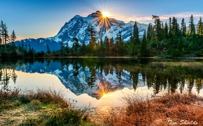 Picture autumn, forest, the sun, rays, reflection, lake, morning, USA, Washington, October, the volcano mount Baker