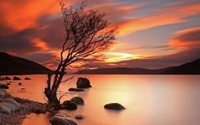 Picture landscape, sunset, mountains, lake