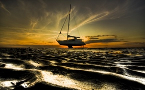 Picture sand, the sky, shore, Boat, stranded