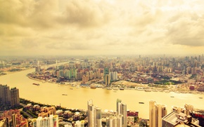 Picture the city, river, photo, skyscrapers, China, Shanghai, megapolis