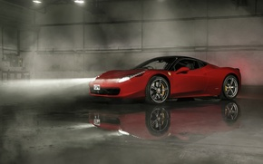 Picture Ferrari, Red, 458, Front, Smoke, Italia, Wheels, Reflection, Ligth