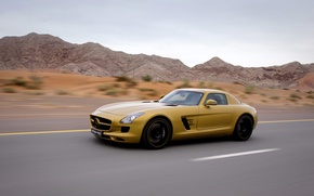Wallpaper SLS AMG, Mercedes-Benz, speed, yellow