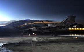 Picture the sky, space, clouds, sunset, ship, fighter, space, fighter, spaceship, game wallpapers, Star Citizen, Star ...