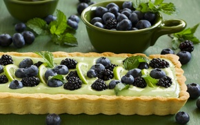 Picture leaves, blueberries, pie, lime, cakes, BlackBerry
