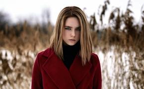 Picture girl, portrait, the beauty, coat, Lika