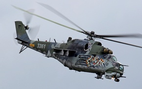Picture the sky, transport-combat helicopter, Czech air force, Mi-35 M
