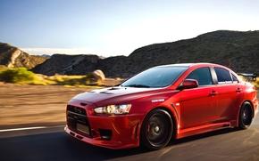 Picture Red, Machine, Tuning, Speed, Red, Tuning, Lancer, Mitsubishi Lancer, Evolution X, Mitsubishi, 2008 Vivid Racing